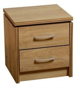 Carlos Oak 2 Drawer Bedside Table Nightstand Cabinet