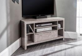 Bloc Corner TV Cabinet with Storage - Concrete Effect Grey