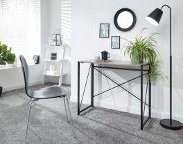 Bramwell Urban Design Space Saving Folding Writing Desk - Concrete Grey & Black