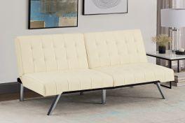 Emily Clic-Clac Sofa Bed Tufted Back Chrome Legs Vanilla Faux Leather