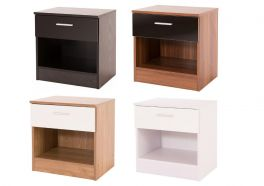 Ottawa Caspian Supreme High Gloss Bedside Cabinet - Black, Oak, Walnut, White
