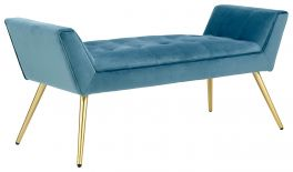 Turin Window Seat - Upholstered Velvety Fabric & Gold Legs - Teal