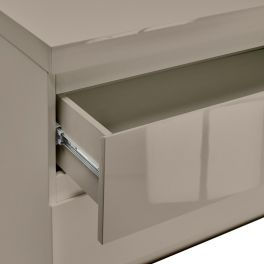 LPD High Gloss 2 Drawer Bedside in Stone