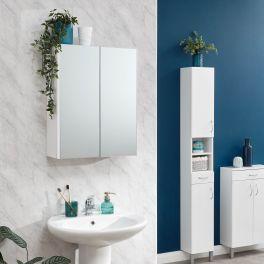 Moritz White Bathroom Storage - 2 Door Mirrored Wall Cabinet