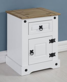 Seconique Corona 1 Door 1 Drawer Petite Bedside Cabinet - White & Distressed Waxed Pine