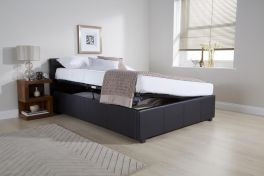 Caspian Ottoman Storage Bed - Side Lift - Black - 3ft, 4ft, 4ft6 & 5ft