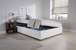Caspian Ottoman Storage Bed - Side Lift - White - 3ft, 4ft, 4ft6 & 5ft