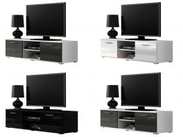 Caspian® Soho TV Cabinet | High Gloss | Black, Grey, White or White & Grey | 140cm