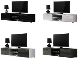Caspian® Soho TV Cabinet | High Gloss | Black, White, Grey or White & Grey | 180cm