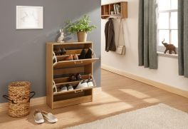 Stirling Slim 2 Tier Wood Storage Shoe Cabinet - Espresso, Grey, Oak, White