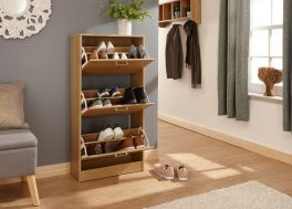 Stirling Slim 3 Tier Wood Storage Shoe Cabinet - Espresso, Grey, Oak, White