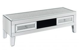 Birlea Vienna Mirrored Glass TV Cabinet with Drawers  Assembled  Crystal Detail Design