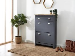 Kendal Country Style Deluxe Shoe Storage Cabinet - Slate Blue with Oak Top