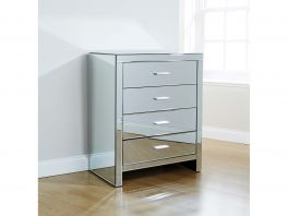 Venetian Glass 4 Drawer Chest of Drawers with Clear Mirror Finish