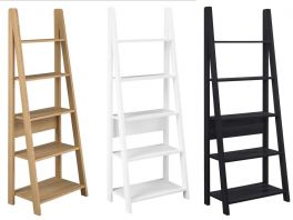 Tiva Ladder Shelving Bookcase - Black, Oak or White