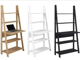 Tiva Ladder Shelving Computer Desk - Black, Oak or White