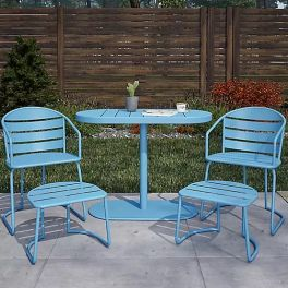 COSCO Outdoor Living INTELLIFIT 5 Piece folding Bistro Patio Dining Set Turquoise