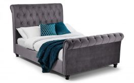 Julian Bowen Valentino Luxury Grey Soft Velvet Bed - 4ft6, 5ft & 6ft