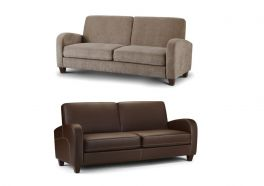 Julian Bowen Vivo 3 Seater Sofa - Brown Faux Leather or Mink Chenille