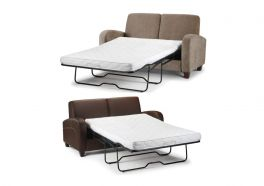 Julian Bowen Vivo Sofa Bed - Brown Faux Leather or Mink Chenille